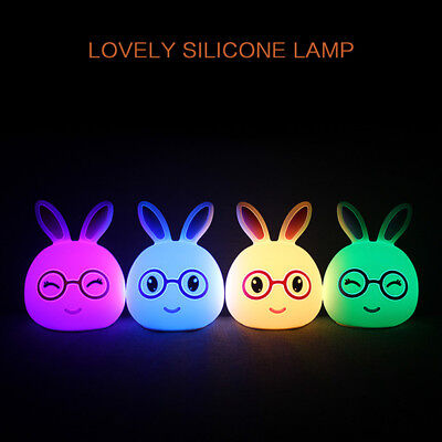 Rabbit LED Baby Night Light Multicolor Silicone Soft Nursery Lamp for Room Decor