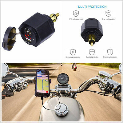 1X Motorcycle Dual USB 4.2A Charger Adapter LED Voltmeter For BMW Din Hella Plug