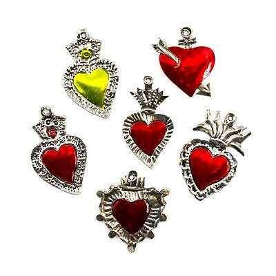 Sacred Hearts Ornaments Milagros Mexican Charms- 6 Tin Painted Heart Decorations