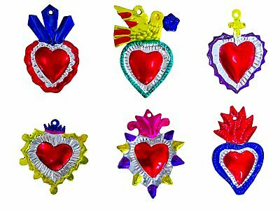Milagros Charms - Tin Painted Sacred Heart Ornaments - Mexican Art (set of 6) -