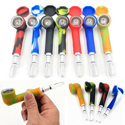 Hand Tobacco Smoking Pipe with Cap Bowl Herb Cigarette Filter Holder Silicone