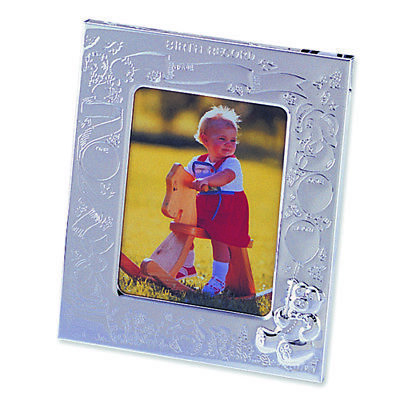 Silver-plated Birth Record 3x4 Photo Frame