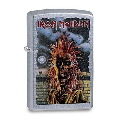 Zippo Street Chrome Iron Maiden with Moon and Brick Wall Lighter