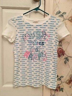 """NWOT Girls Limited Too White Blue Pink """"Music Makes Me Happy"""" T-Shirt Size 14"""
