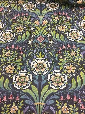Art Nouveau Molly Blue (William Morris Style) Curtain/Upholstery Fabric (2m min)