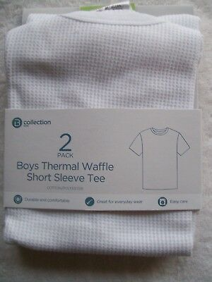 BNWT Boy's 2 Pack White Thermal Waffle Knit Short Sleeve Singlet Size 4