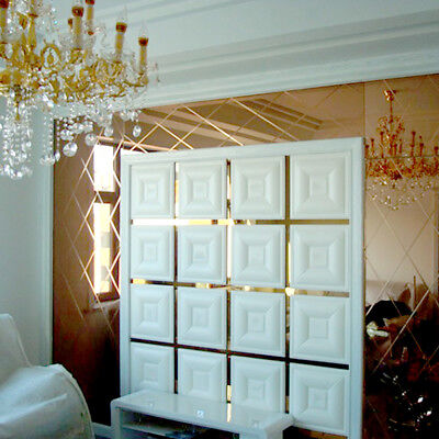 3D Self Adhesive Mirror Wall Sticker Leather Like Carved Livingroom Wall Panel