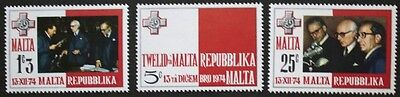 Inauguration of republic stamps, Malta, 1975, SG ref; 536-538, 3 stamp set, MNH