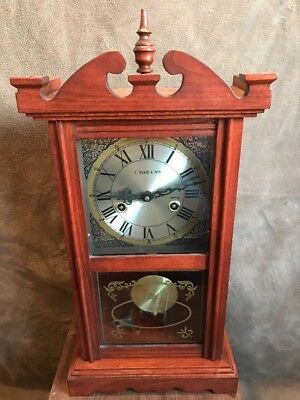 Vintage Traditional Style Wood Cased Wall Or Mantel Clock by C. Wood & Son