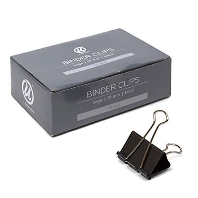 12 Count Binder Clips, Large 2 Inch Width, 1 Inch Capacity, Black & Silver Steel