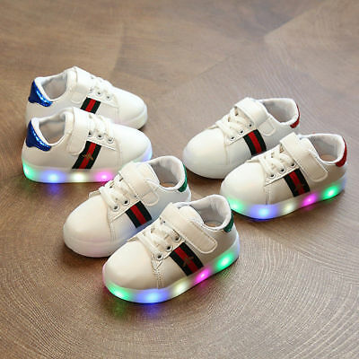 2018 Hot Kids Boys Girls LED Sneakers Luminous Light Sports Running Casual Shoes