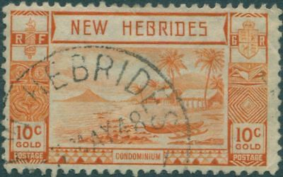 New Hebrides 1938 SG53 10c Orange Islands Canoes FU