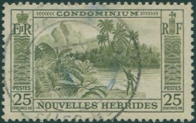 New Hebrides 1957 SG88 25c Fisherman FU