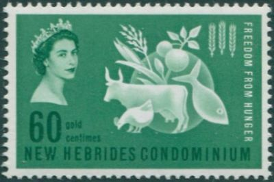 New Hebrides 1963 SG95 60c Freedom from Hunger MLH