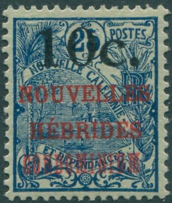 New Hebrides French 1920 SGF33a 10c on 25c blue/greenish CONDOMINIUM ovpt MLH