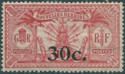 New Hebrides French 1924 SGF39 30c 0n 10c carmine Weapons Idols MH