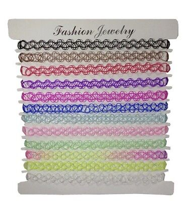 Choker Tattoo Multi Necklace Kids Colour Girl Rainbow 12 Pack Party Gift UK