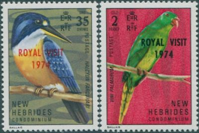 New Hebrides 1974 SG188-189 Royal Visit QEII set MLH