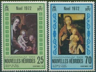 New Hebrides French 1972 SGF185-F186 Christmas set MLH