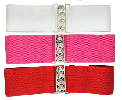 Adults Women's Wide Waist Belt Elastic Bright Coloured 90's Style