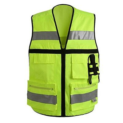 CNSS Unisex Motorcycle Riding High Visibility Reflective SAFETY MultiPocket VEST