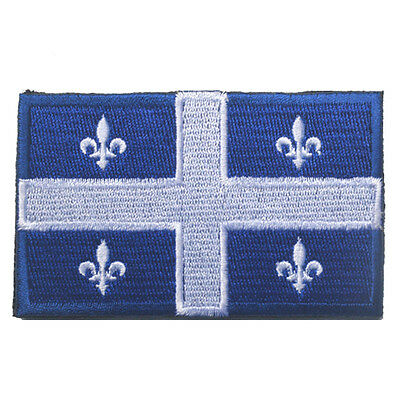 Canada Quebec State Flag Qc Can Army Morale Badge Tactical Hook Loop Patch /01