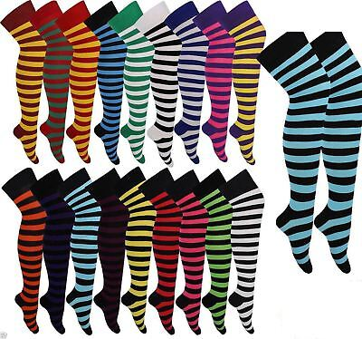 Ladies Long High Thigh Stripe Socks Women Over The Knee Stripe Socks Fancy Dress