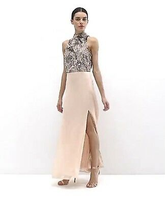 Maya Petite Heavy Embellished Bodice Maxi Dress with High Neck and Thigh Split
