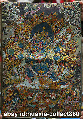 "24"" Tibet Tibetan Cloth Silk Buddhism Buddha Yamantaka Tangka Thangka Painting#1"
