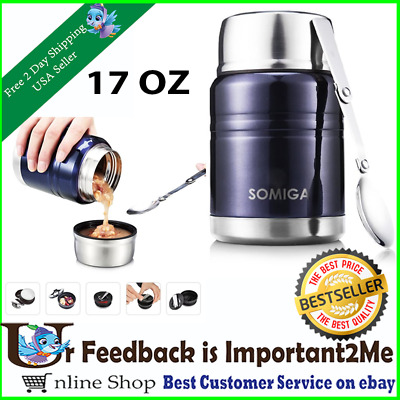 INSULATED FOOD JAR Stainless Steel Spoon Thermos Hot Cold