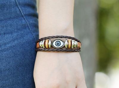 Mens Boys Women's Girl's Leather Multi Layer Brown Bracelet Evil Eye Design