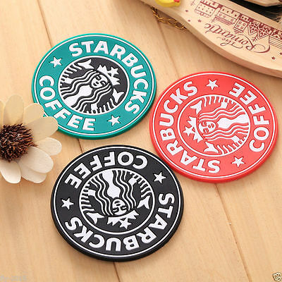 10pc Cartoon Silicone Heat Insulation Coaster Mat Starbucks Coffee Tea Cup Pad