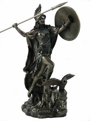 Goddess Athena w/ Medousa Shield Throwing Javelin - Owl of Wisdom Statue 8.66""