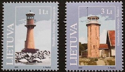 Lighthouses stamps, 2003, Pervalka, Uostadvaris Lithuania SG ref: 806 & 807, MNH