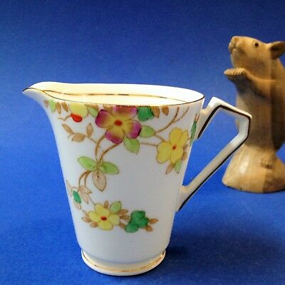 Victoria C & E Bone China - Art Deco Milk Jug Creamer - Hand Enameled c. 1936+