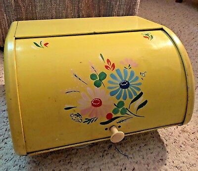 Vintage Yellow Ransburg Asters Metal Roll Top Bread Box Hand Painted Flowers