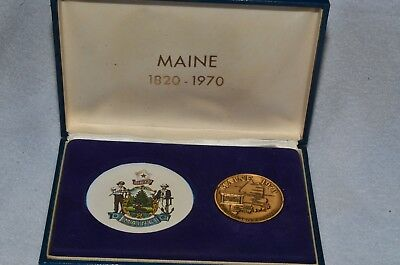 Maine Sesquicentennial Commemorative Coin 1820-1970 IN COLLECTOR BOX