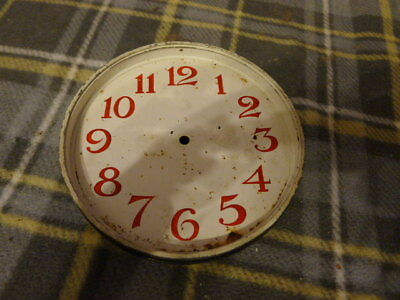 Smith's Metal 8 day Dial with movement holder. White with Red Arabic Numbers