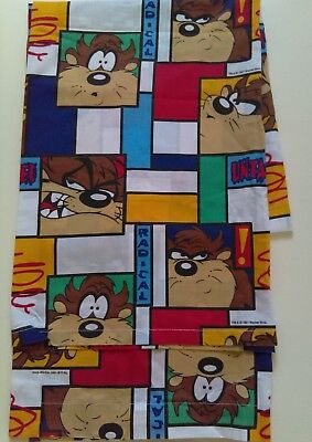 Warner Brothers Looney Tunes Taz Twin Size Flat Sheet Fabric Vtg 1997