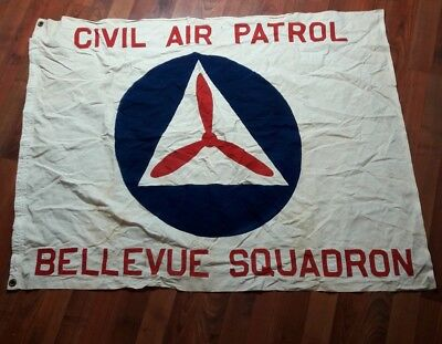 Vintage antique US Civil Air Patrol bellevue Squadron  Flag, cotton