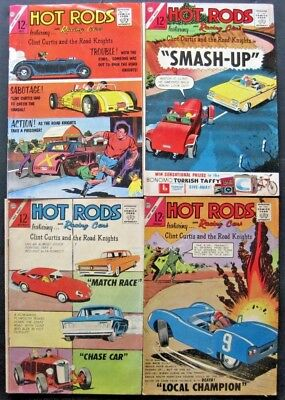 HOT RODS and RACING CARS # 64 65 66 67 (LOT OF 4) CHARLTON - JACK KELLER