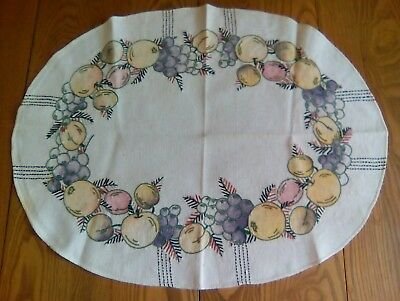 """VINTAGE 20""""x26"""" CENTERPIECE DOILY TABLE TOPPER - HAND EMBROIDERED - FRUIT DESIGN"""