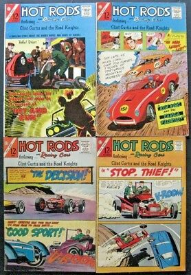 HOT RODS and RACING CARS # 76 78 79 82 (LOT OF 4) CHARLTON - JACK KELLER