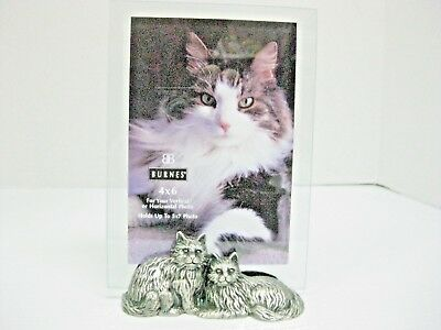 Burnes Of Boston Pewter Metal Cats 4X6 To 5X7 Glass Photo Picture Frame 1998