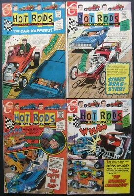 HOT RODS and RACING CARS # 88 93 95 96 (LOT OF 4) CHARLTON - JACK KELLER