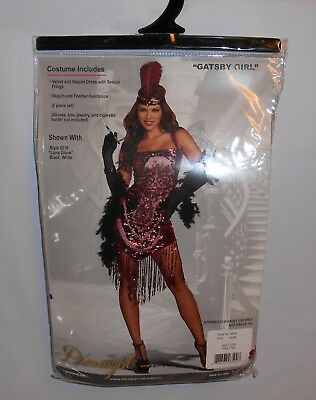 Gatsby Girl Dreamgirl Costume Women's Size Large Sequince Dress, Feather Headpie
