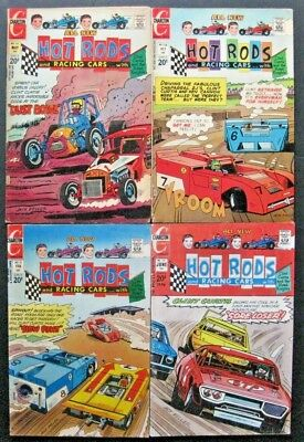 HOT RODS and RACING CARS # 114 116 118 120 (LOT OF 4) CHARLTON - JACK KELLER