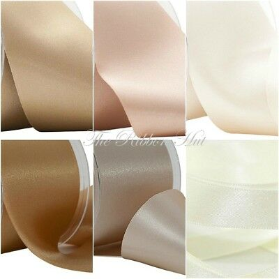 Berisfords WIDE NUETRALS Double Satin Ribbon 7 Shades 3 Widths 2 Lengths