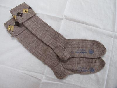 VINTAGE 1940's WW2 ERA CC41 UTILITY MARK BROWN BOY'S SCHOOL EVACUEE SOCKS - 7""