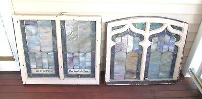 Pair Of Antique Opalescent Stained Glass Windows Church Salvage Window Troy Ny
